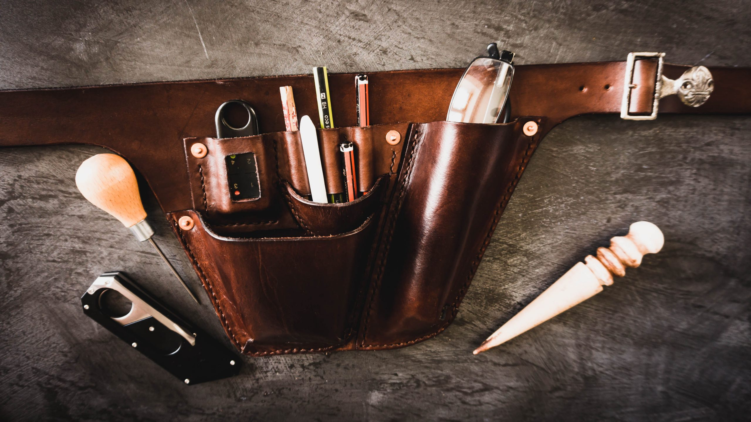 Two Pocket Leather Tool Belt