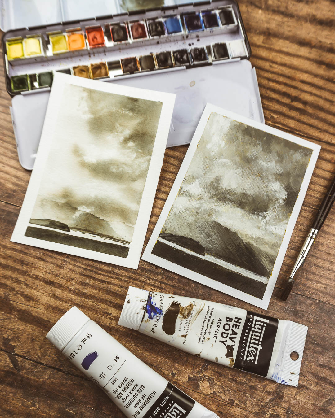 Same inspiration, Two methods: Watercolour vs Acrylic Painting