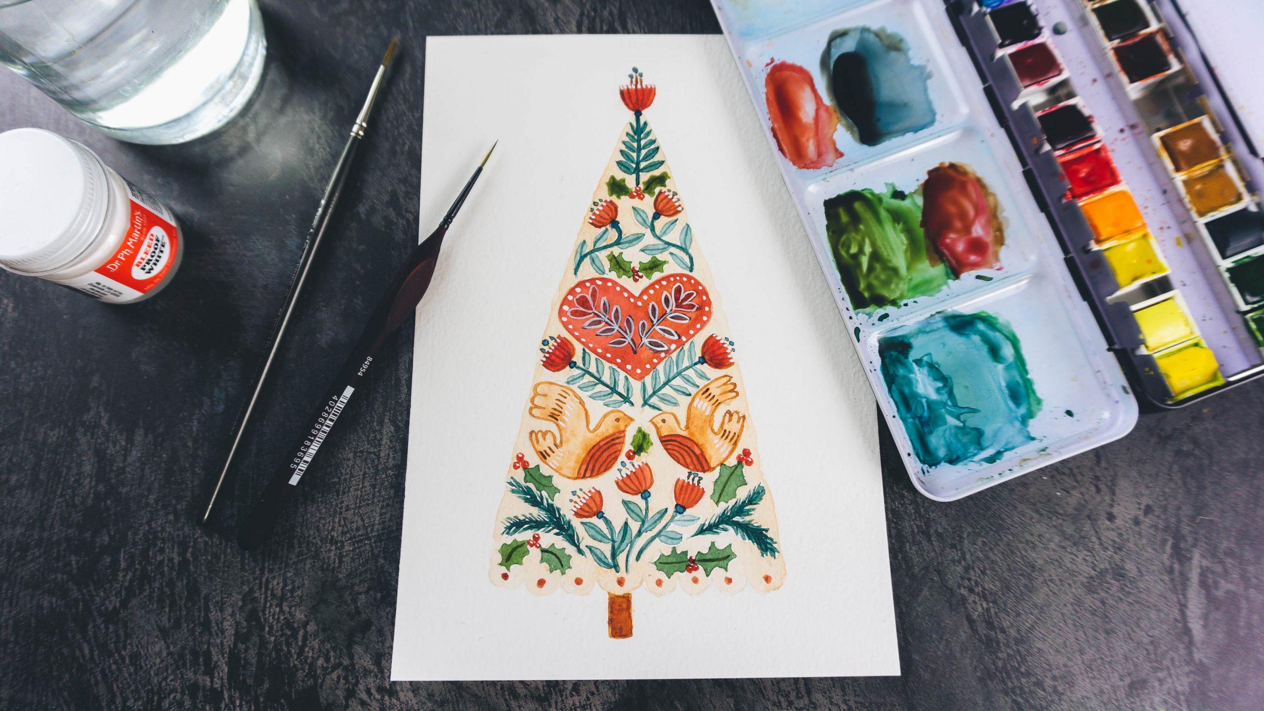 Watercolour Christmas Tree Downloadable Line Art