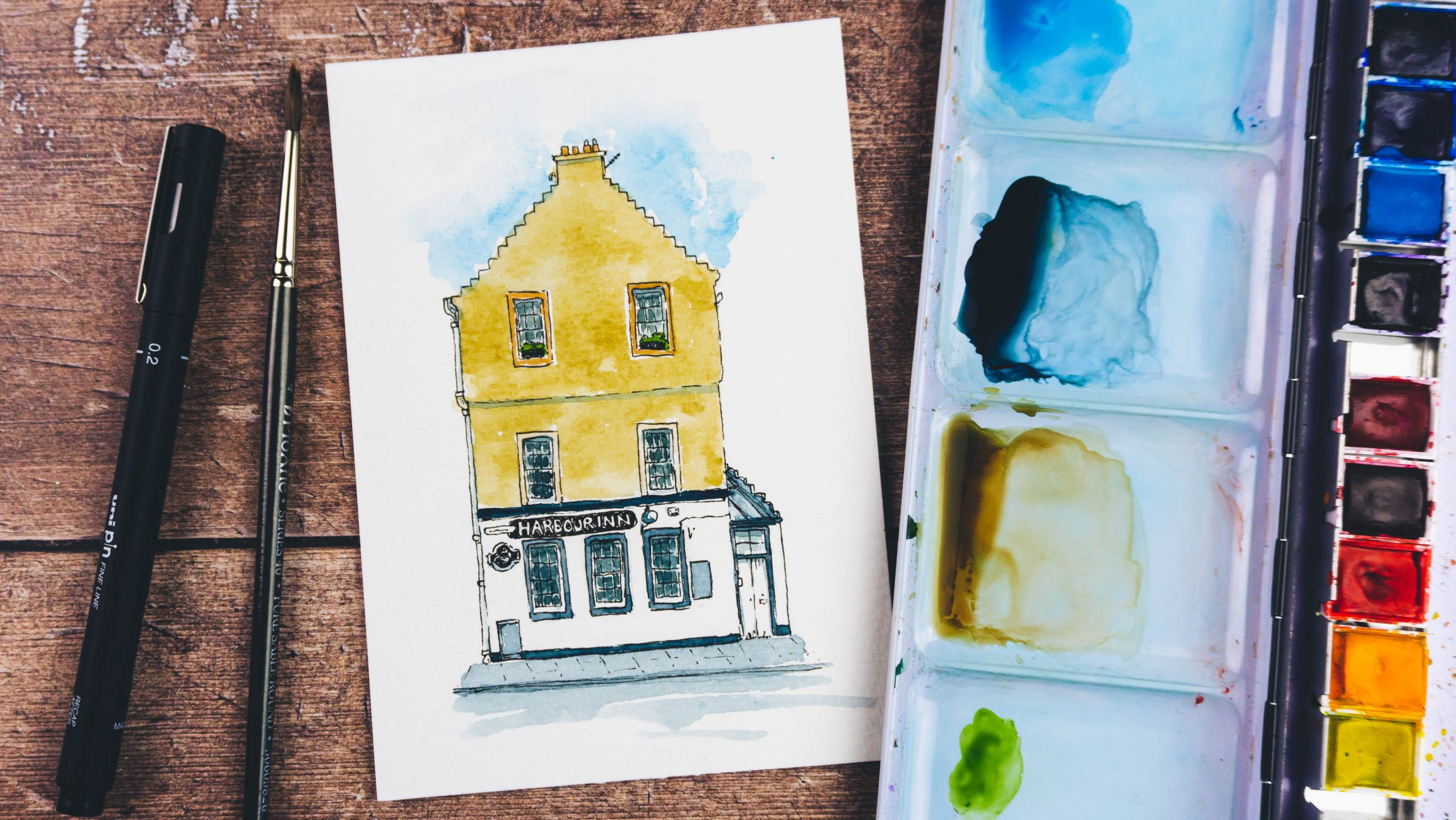 Painting a building with Watercolour and Pen