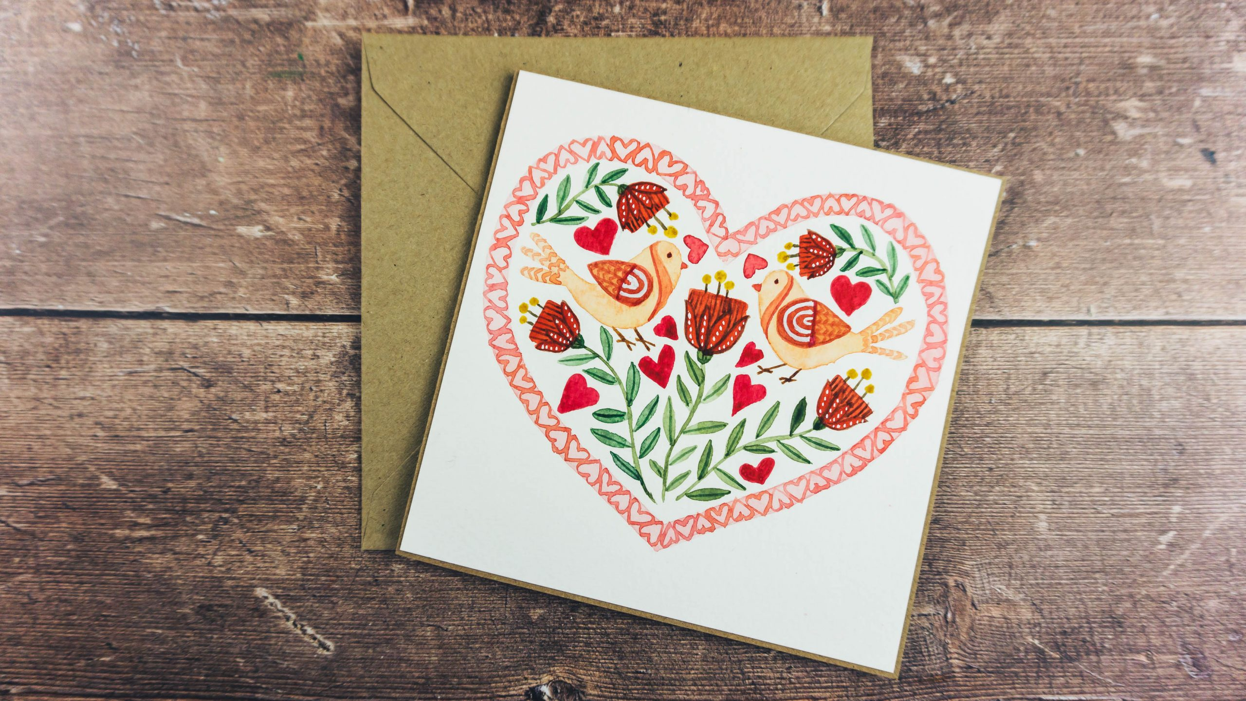 Watercolour Folk Art Valentine's Heart